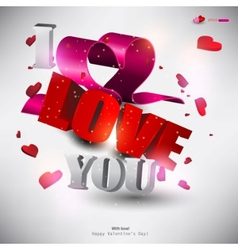 3d word love with hearts vector image vector image