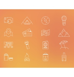 Summer camping and travel outline icons set vector