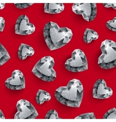 Shiny diamond hearts on dark red background vector