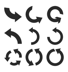 Rotate counterclockwise flat icon set vector