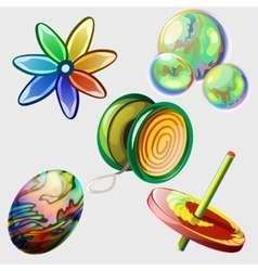 Pinwheel bubbles ball and other toys five items vector