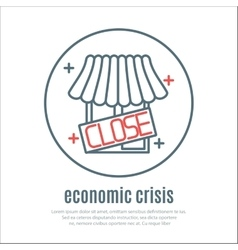 Icon on a theme of economic crisis with market vector