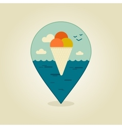 Ice cream pin map icon summer beach sun sea vector