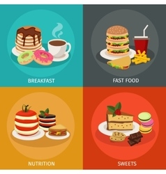Meal tower square icon set vector