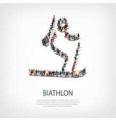 People sports biathlon vector