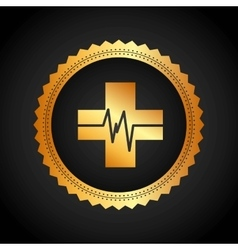 Cross and pulse icon medical and health care vector