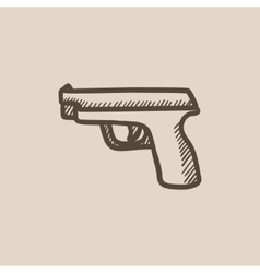 Handgun sketch icon vector