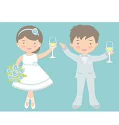 Bride and groom celebrating vector