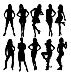 beauty lady silhouettes vector image