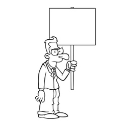 Black and white angry business man with sign vector image vector image