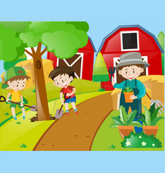 boys and gardener planting trees vector image