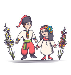 Children in ukrainian costumes vector