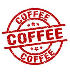Coffee round red grunge stamp vector