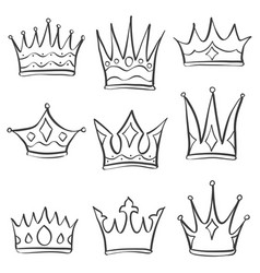 collection crown various doodle set vector image vector image