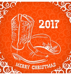 Cowboy merry christmas with cowboy boots and vector image