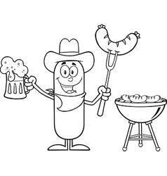 Cowboy sausage cartoon vector