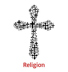 crucifix cross religion symbol icon vector image