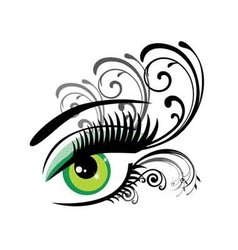 Eyes floral green vector