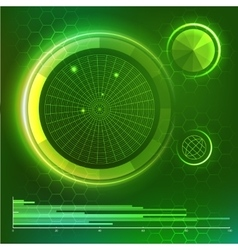 Futuristic user interface green hud elements set vector