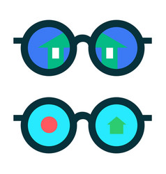 Glasses with the reflection vector