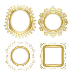 Gold ornamental frames with transparent shadow vector