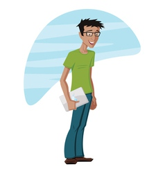 Guy With a Laptop vector image vector image