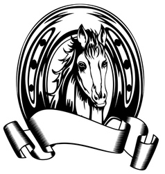 head horse in horse shoe vector image