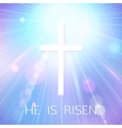 Hi is risen happy easter blue background with vector