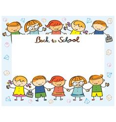 Kindergarten Kids Back to School Frame vector image vector image