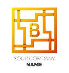 Letter b symbol in the colorful square maze vector