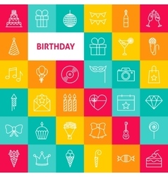 Line birthday icons vector