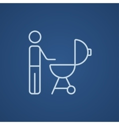 Man at barbecue grill line icon vector image vector image