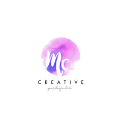 mc watercolor letter logo design with purple vector image