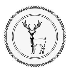 Monochrome contour circle with reindeer with scarf vector