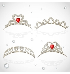 Openwork jewelry tiaras with diamonds and faceted vector