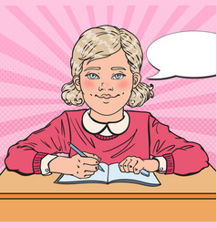 Pop art smiling schoolgirl doing homework vector