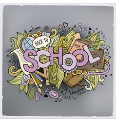 School cartoon hand lettering and doodles elements vector image