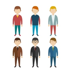 Set of flat human characters young men on white vector