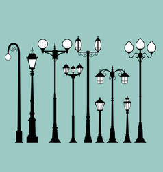 Set of street lamps in flat style vector