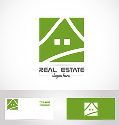 Simple green house real estate logo vector