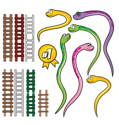 Snake and rope ladder set vector