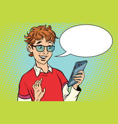 teenager talking on the phone joy vector image vector image