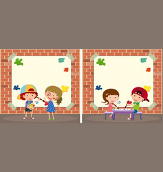 Two border templates with kids painting on walls vector