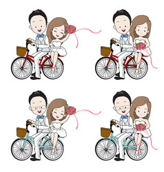 Wedding cartoon bride and groom riding bicycle vector