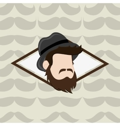 Hipster fashion man emblem image vector