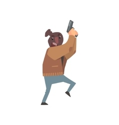 Criminal with the sock on head holding gun vector