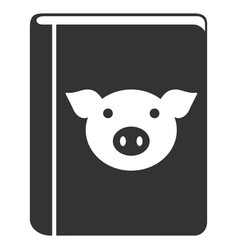 Pig book flat icon vector