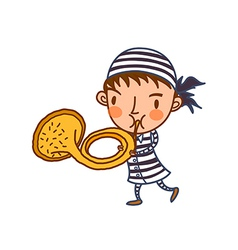 Close-up of boy holding trumpet vector