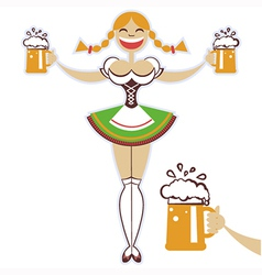 Oktoberfest girl with glasses of beer symbol vector