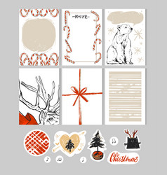 hand made christmas set with cardsnotesstickers vector image